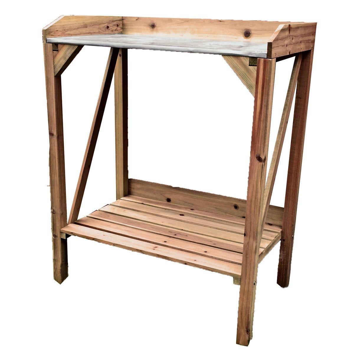 varilando® Macetero mesa de madera con superficie de trabajo de ...