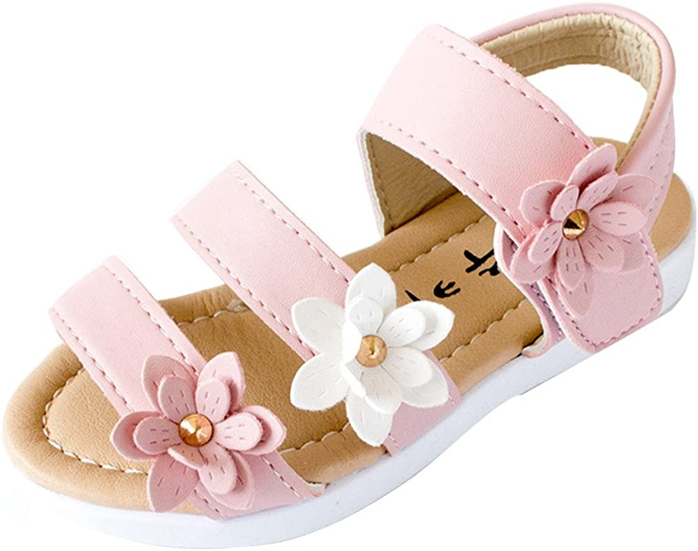 WEUIE Girls Open Toe Beach Sandals Preschooler Kids Summer Fashion Flower Flat Shoes Princess Flats Sandals