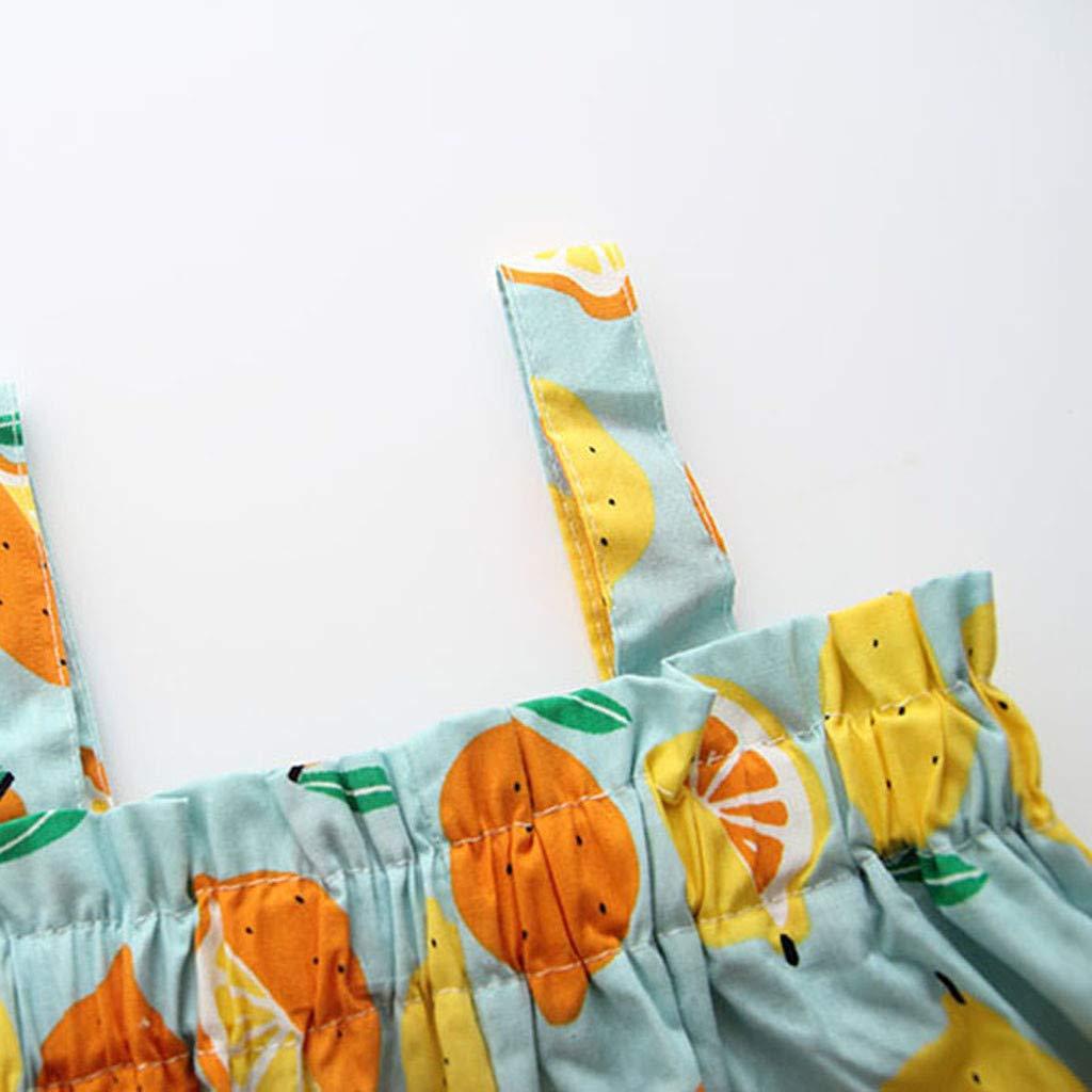 Bambina Vestito Estivo,Costume Bambine Ragazze Estivo Abito Vestito da Principessa con Cinturino Senza Maniche a Stampa Bambina con Stampa al Limone Ragazze Pizzo PANPANY