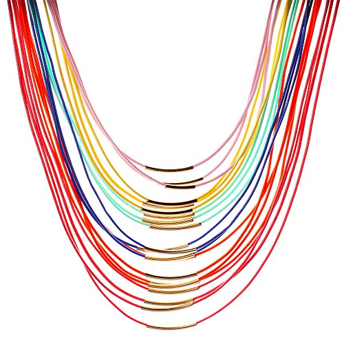 Girl Era Magnetic Clasp Colorful Multilayer Leather Cord Necklace Rope Chain Costume Jewelry