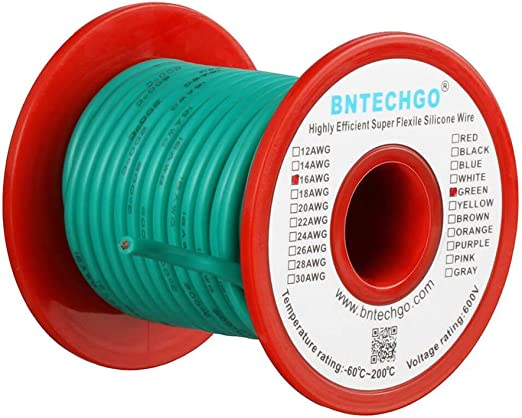 BNTECHGO 16 Gauge Silicone Wire Spool 50 ft Ultra Flexible High Temp 200 deg C 600V 16 AWG Silicone Wire 252 Strands of Tinned Copper Wire 25 ft Black and 25 ft Red Stranded Wire for Model Battery