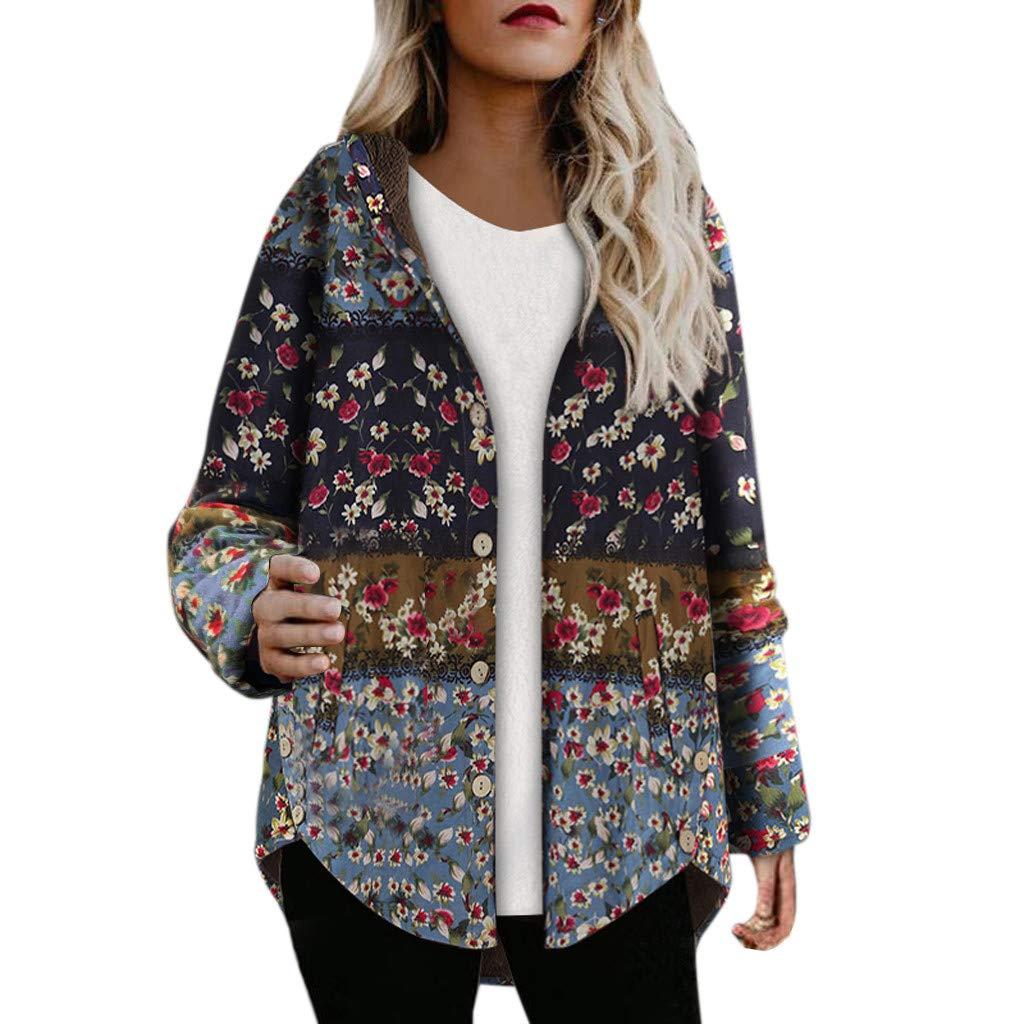 〓COOlCC〓Women Floral Print Colorful Jacket,Warm Parka Hooded Zipper Jacket Open Front Fleece Winter Coat Outwear Snowsuit by COOlCCI_Womens Clothing