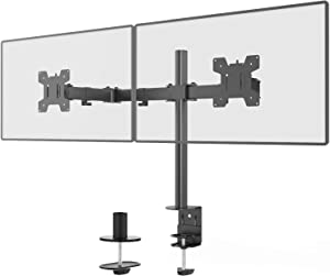 WALI Dual LCD Monitor Fully Adjustable Desk Mount Stand Fits Two Screens up to 27 inch, 17.6 lbs. Weight Capacity per Arm (M002LM), Black