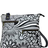 Anuschka Hand Painted Leather Large Crossbody, Patchwork Pewter