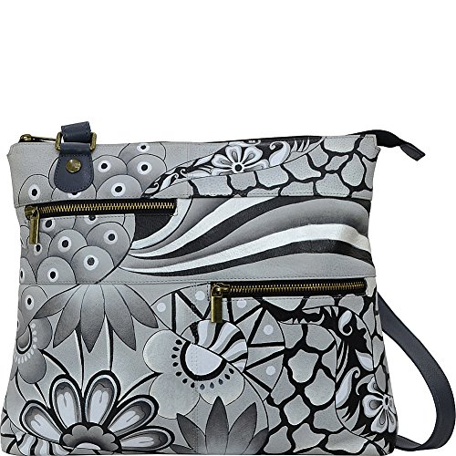 Anna by Anuschka Hand Painted Leather Large Crossbody, patchwork pewter