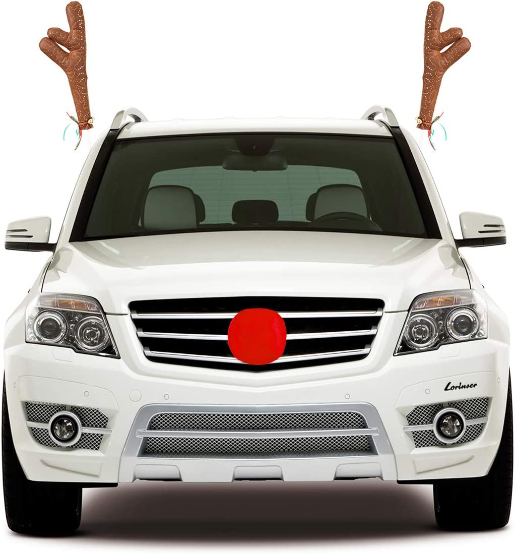 Unomor Christmas Reindeer Antlers /& Nose for Car Decoration Covered with Shiny Sequins and Jingle Bells 17/'/'