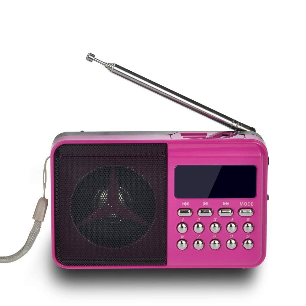 Timorn Radio Mini Portable Music Player Supports TF Card/USB/SD/MP3 Format/FM Radio Function (Pink)