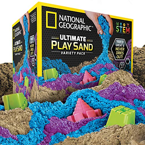 - NATIONAL GEOGRAPHIC Play Sand Combo Pack - 2 LBS each of Blue, Purple and Natural Sand with Castle Molds - A Kinetic Sensory Activity