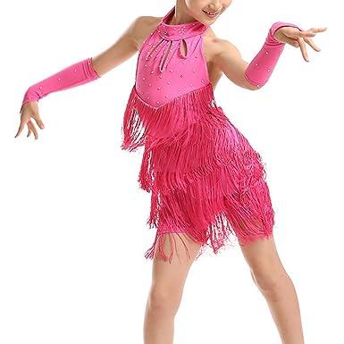 cf0c82fc10fdf Amazon.com: Girls Tassel Latin Salsa Dance Dress Sleeveless Halter Dance  Costume: Clothing