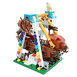 QTDS Blocchi Puzzle per Bambini Nave Pirata Giocattoli assemblati Puzzle Fai da Te Street View Serie Set Giochi per Parco Giochi per Ragazzi e Ragazze - 520 Pezzi