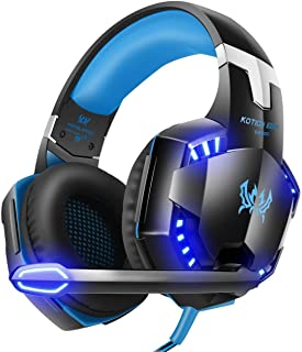 product image for G2000 Gaming Headset, Surrounding Stereo Gaming Headphones with Noise Cancellation, Mic, LED Light & Soft Memory Earmuffs, for Xbox One/PS4/Nintendo Switch/PC/Mac - Blue