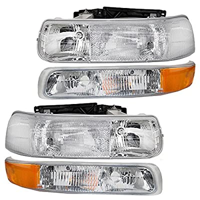 4 Pc Set of Headlights & Side Signal Marker Lamps for Chevrolet Pickup SUV 16526133 16526134 15199558 15199559