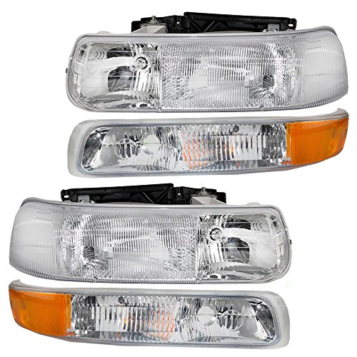 4 Pc Set of Headlights & Side Signal Marker Lamps for Chevrolet Pickup SUV 16526133 16526134 15199558 (Full Set Housing)