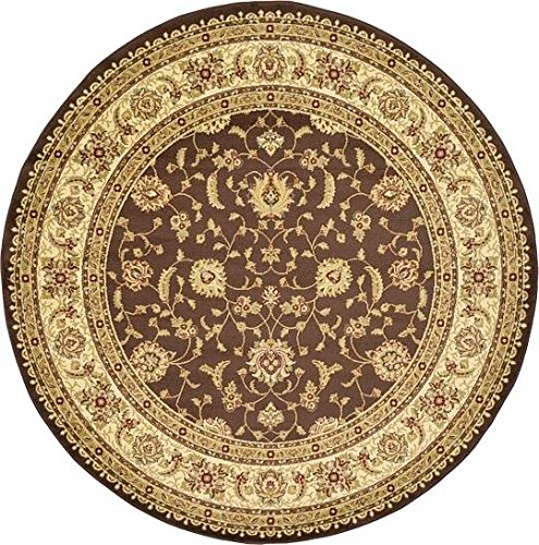 Unique Loom Agra Collection Brown 8 ft Round Area Rug (8' x 8') (Agra Collection)