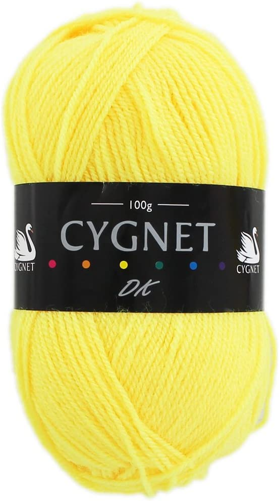 Cygnet DK BRIGHT YELLOW Wool Double Knitting 100g Balls Acrylic  *MULTI OFFER*