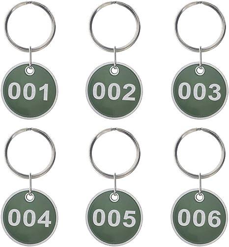 1-200 -Blue ASPIRE 200 Pieces Key Tag Set Metal Rim Number Tag Key Ring
