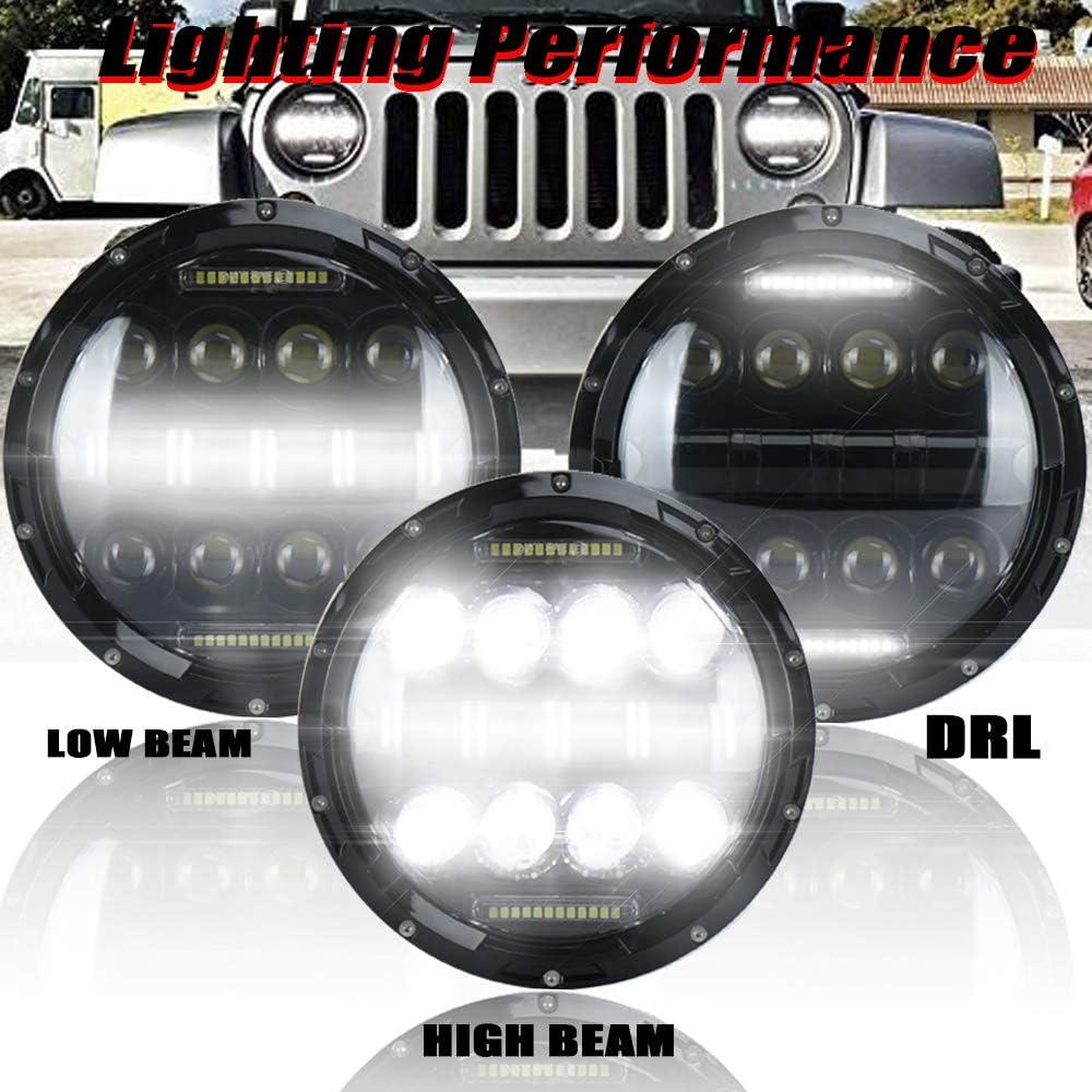NSLUMO Defender 75w Fahrscheinwerfer Mit Abblendlicht Tagfahrlicht Auto Fahren Projektor Ersatz F/ür Defender 90 110 J`eep Scheinwerfer 2 Stueck Silber