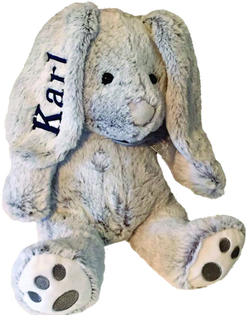 Personalized Plush Bunny-14 inches Tall- Stuffed Animal-Easter Or Gift (Gray)