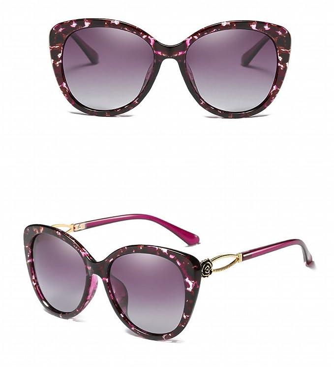 Polarisierte Sonnenbrille Damen Weibliche Sonnenbrille Farbe Film Linsen Perlen , Blaues Blumenkasten Doppeltes Graues Blatt