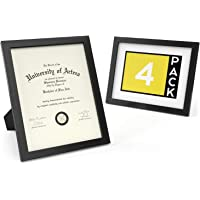 """ARTEZA Document Frame 8.5"""" x 11"""" Award Plaque 4 Pack - Real Glass Front - Solid Wood Finish - Mounting Hooks for…"""