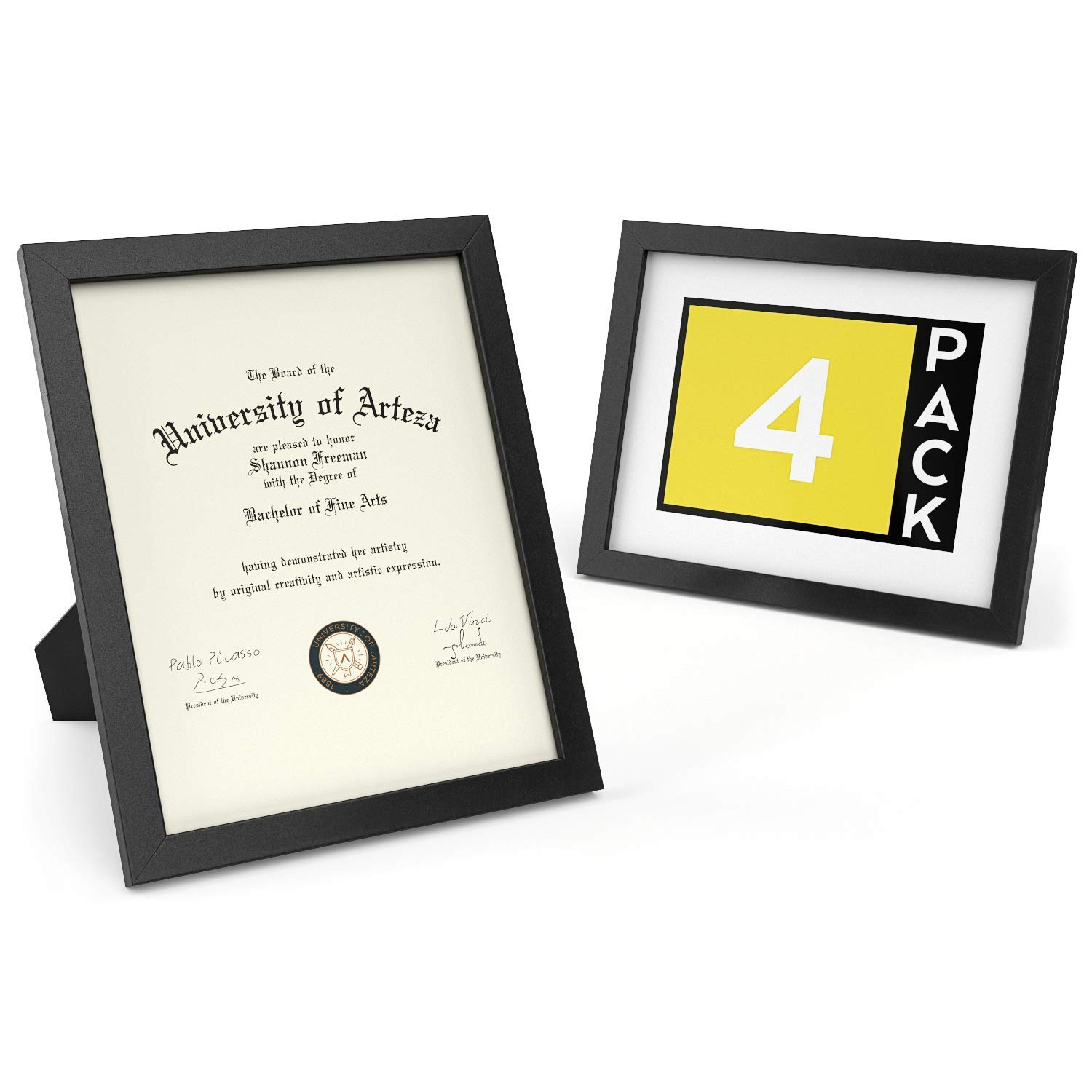 ARTEZA Document Frame 8.5'' x 11'' Award Plaque 4 Pack - Real Glass Front - Solid Wood Finish - Mounting Hooks for Certificate Display