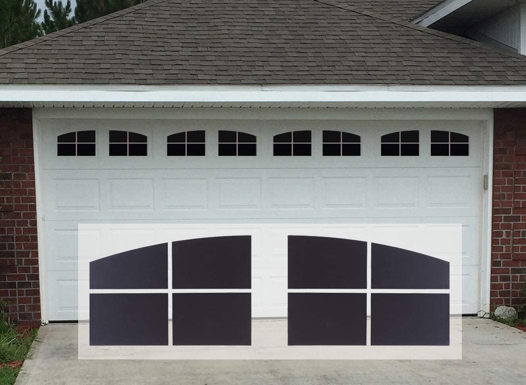 Sanfurney Magnetic Garage Door Windows Panes Arch Style Pre-Cut Faux Fake Decorative Window Decals 32 Pack for 2 car Garage Kit,Gloss Black