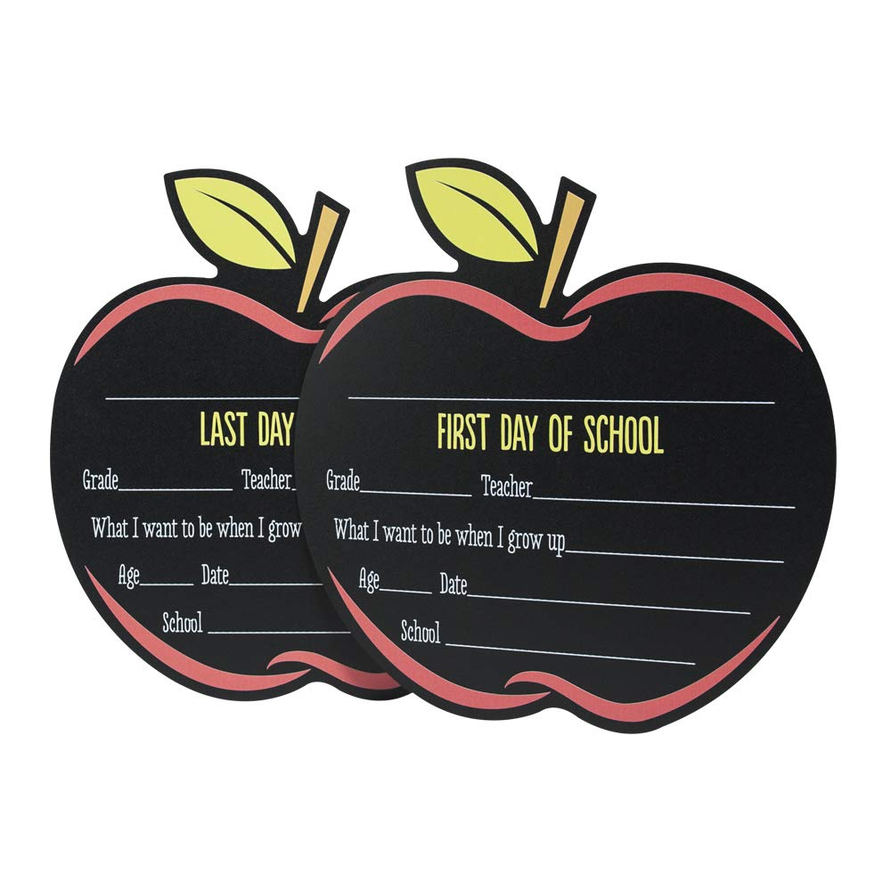 Canopy Street First & Last Day of School Reusable Chalkboard Sign Photo Prop Set - Easy Clean Back to School and Last Day Sign - Unique Apple Design 12.5'' x 12'' by Canopy Street