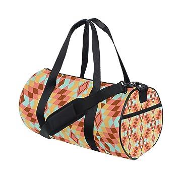 Amazon.com: Duffel Bolso Geométrico Naranja Patrón Mujer ...