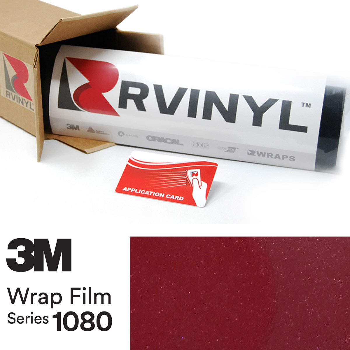 Vinyl Vehicle Car Wrap Film Sheet Roll 3M 1080 GP253 Gloss Cinder Spark RED 4in x 6in Sample Size