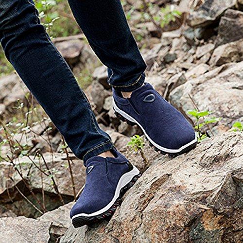 Pelle Gracosy Uomo Corsa Scarpe Blu in Scarpe Trekking Shoes Mocassini Sportive Scarpe Casual On da Outdoor per Invernali Scarpe Camminare Scarpe Piatto Traspirante Slip da vrqAHwnxr