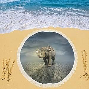 "your-fantasia elefante llevar un Lemur Circular playa Picnic Camping playa chal exterior 59""x 59"""