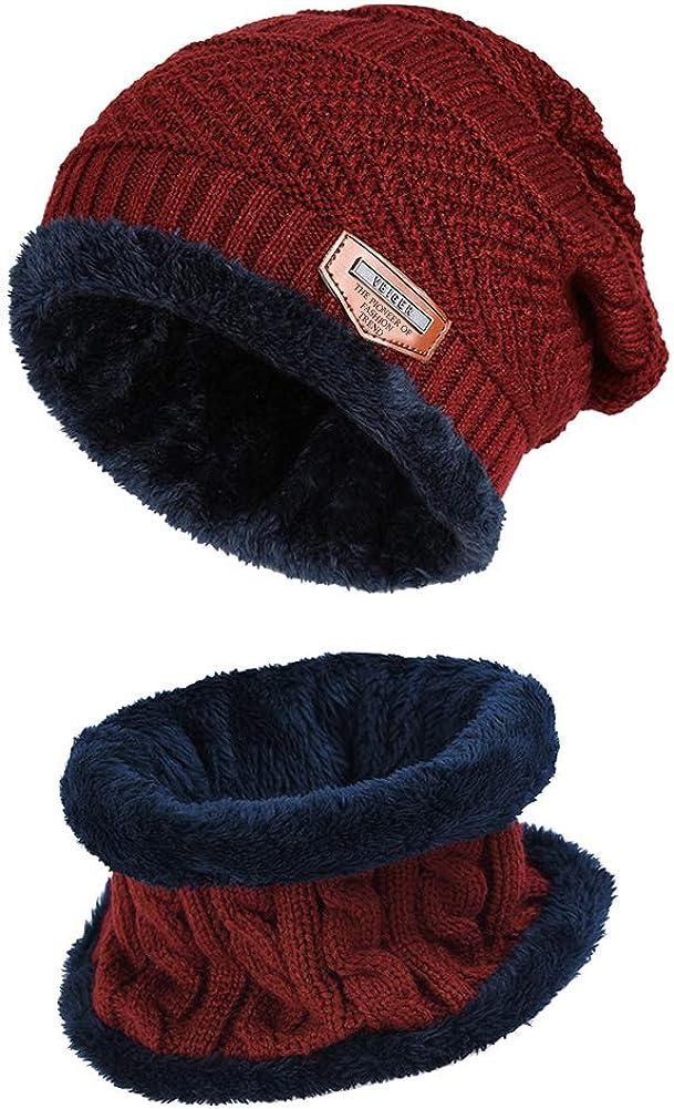 VBIGER 2-Pieces Winter Beanie Hat Scarf Set Warm Knit Hat Thick Knit Skull Cap for Men Women