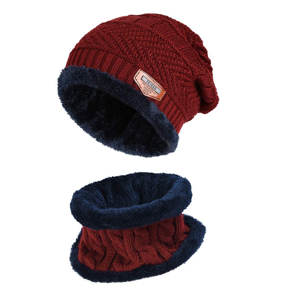 VBIGER 2Pcs Chapeau Chaud Tricot Tour de Cou avec Doublure Polaire pour Homme product image