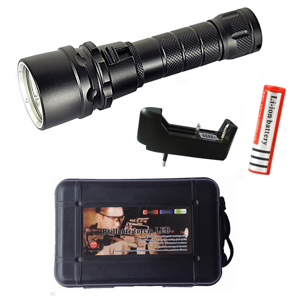 cyful New Cree XM-L2 2000LM Led Scuba Diving Flashlight Torch Underwater 100M Waterproof Submarine Light Rechargeable Battery Included