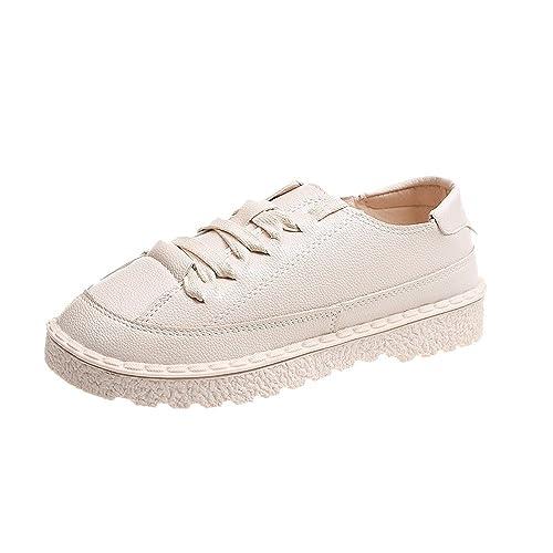Botas Altas Mujer Calzado Deportivo De Moda para Mujer Botines Planos De Cuero con Cordones Planos Botas Cortas: Amazon.es: Zapatos y complementos