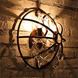 HOMEE Wall lamp- wall light retro american country wrought iron armillary sphere of industrial wind luxury crystal aisle corridor wall light --wall lighting decorations