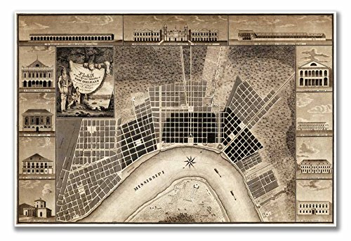 Map Vintage Plan (MAP Plan of the city and suburbs of New Orleans : from an actual survey made in 1815 - measures 24