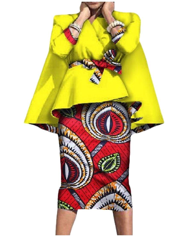 Comfy-Women Trim-Fit African Dashiki Smocked Waist Cotton Skirt Suit Set 5 L