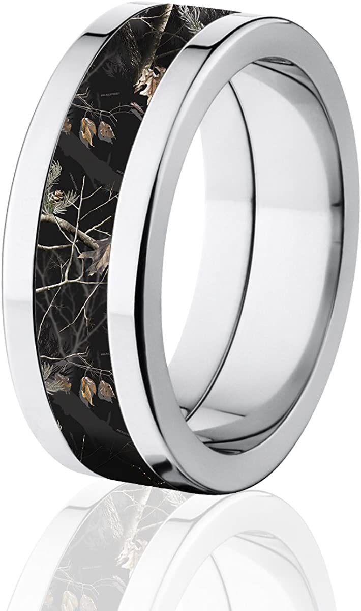 Titanium Camo Rings 8MM Comfort Fit Black Realtree AP Camo Band