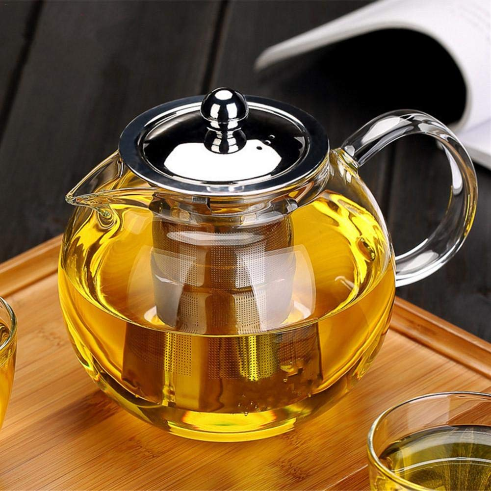 Glass Teapot Tea Kettle - OBOR Borosilicate Glass Tea Maker Stainless Steel with Removable Infuser for Blooming and Loose Leaf, Microwave and Stovetop Safe (22oz/650ml)