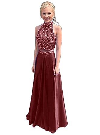 SDRESS Womens Beads Crystals Halter Neck Keyhole Back 2 Piece Formal Prom Dress Burgundy Size 2