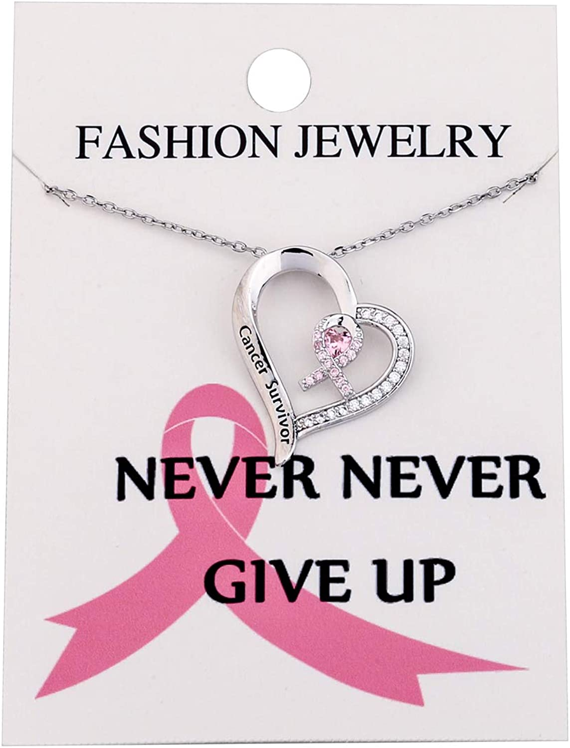 Gift for Her Custom Personalized Breast Cancer Survivor Necklace with Pink Ribbon and Pearl Charms
