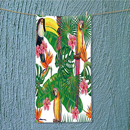 - L-QN towel bar seamless jungle pattern with toucan and parrot exotic bird palm leave Multipurpose Quick Drying W7.9 x H23.6 INCH