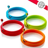 New Egg Ring, Silicone Egg Rings Non Stick, Egg Cooking Rings, Perfect Fried Egg Mold or Pancake Rings(4pcs)