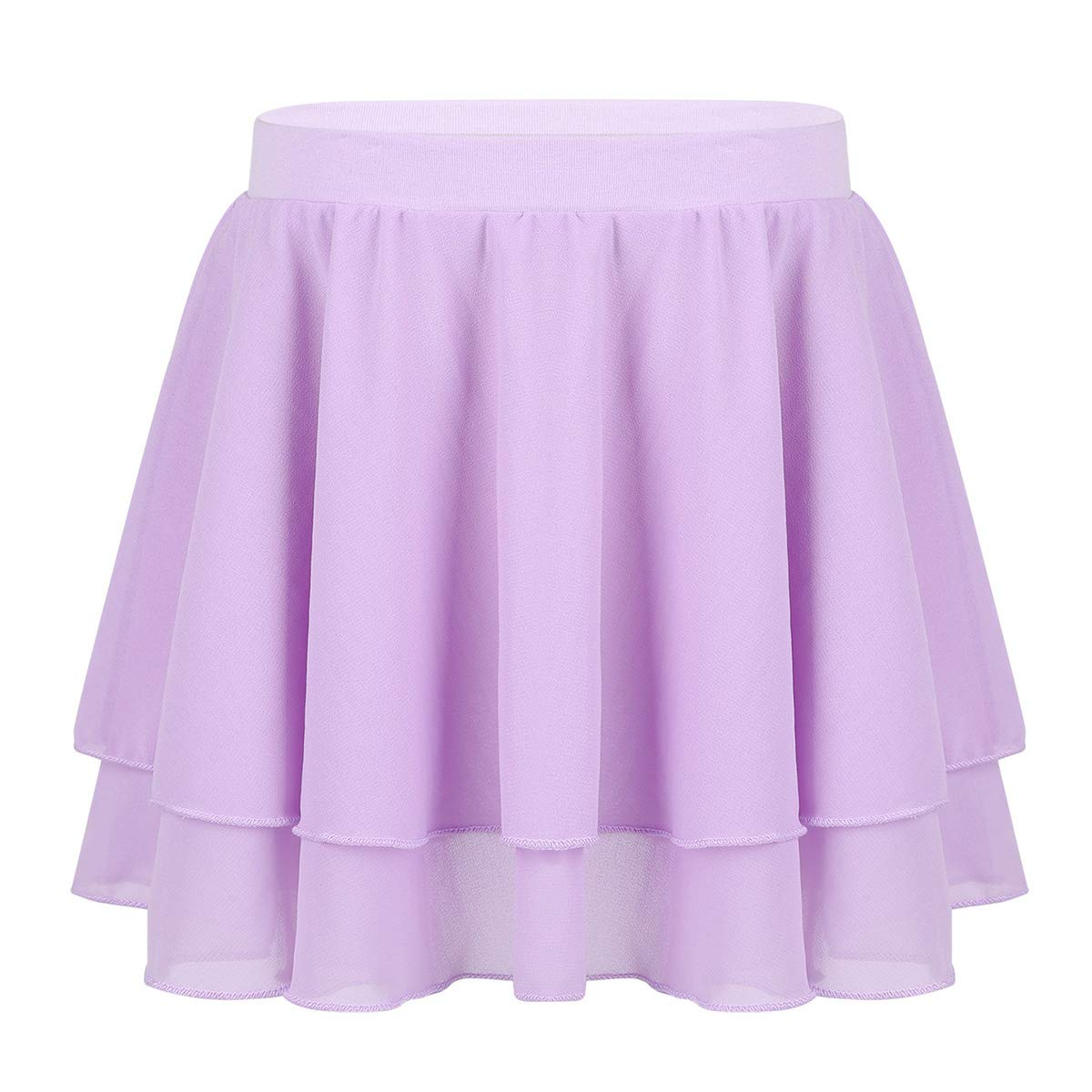 TiaoBug Girls' Ballet Dance Basic Wrap Over Scarf Chiffon Skirt with Tie Waist Collection Skate Workout Training Skorts Lavender Pull-On 8-10 by TiaoBug
