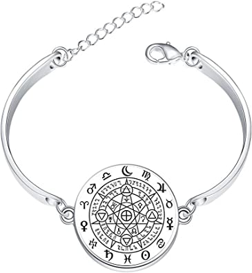 DOME-SPACE Adjustable Silver Bracelets Wicca Wise EyesHand Chain Link Bracelet Clear Bangle Custom Glass Cabochon Charm