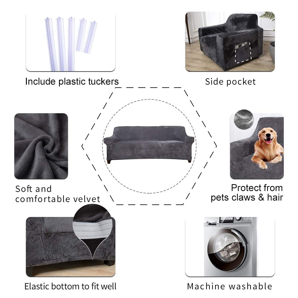 ACOMOPACK Velvet Sofa Cover Stretch Couch Cover for 3 Cushion Couch Cover Sofa Slipcover with Plastic Tuckers and Side Pocket for Living Room Furniture Protector for Dogs(Sofa, Gray)