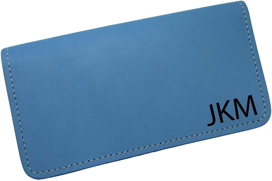 Personalized First Name or Monogram Leather Checkbook Cover USA Made Baby Blue