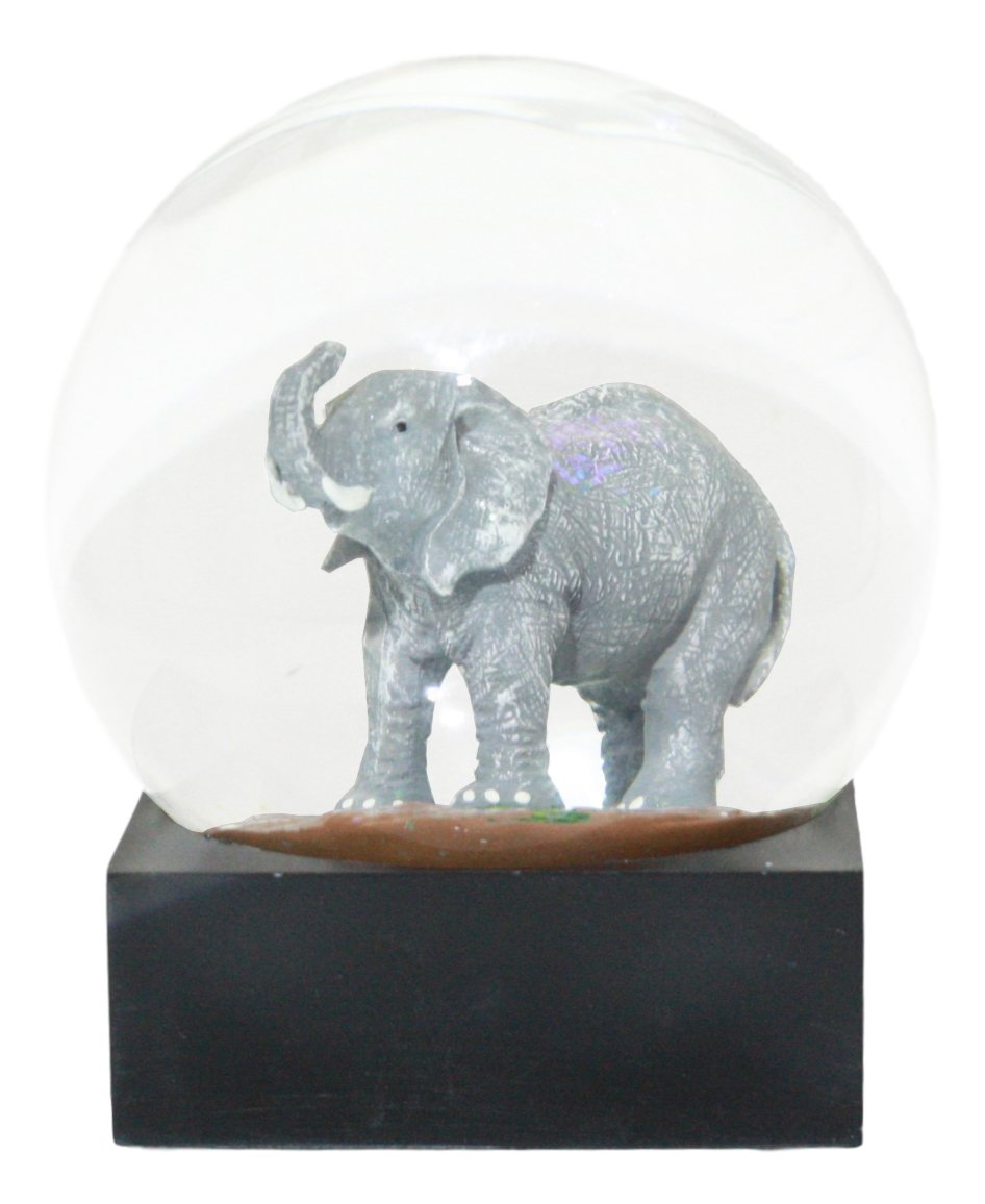 Ebros Safari Savanna African Bush Elephant Glitter Water Globe Collectible Figurine 4.5'' Tall As Wildlife Animal Conservation Novelty Snow Globe Decor
