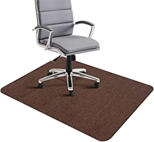 """Office Chair Mat, Office Desk Chair Mat for Hardwood Floors, 1/6"""" Thick 35""""x55"""" Hard Floor Protector Mat, Multi-Purpose Low-Pile Chair Carpet for Home & Office (Brown)"""
